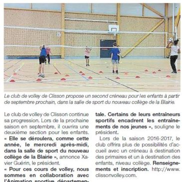 Le club de volley ouvre une seconde section enfant
